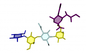Pentasaccharide LSTc in Licorice representation and RingBlending mode enabled.